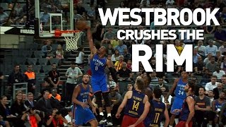 Russell westbrook doing things as he takes off on the break for mean slam!about nba: nba is premier professional basketball...