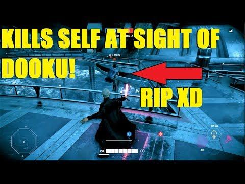 Star Wars Battlefront 2 - Lando player kills self at sight of Dooku! Then we ran into a wookiee XD thumbnail