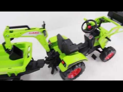 Детский педальный трактор Falk 1010W с двумя ковшами и прицепом