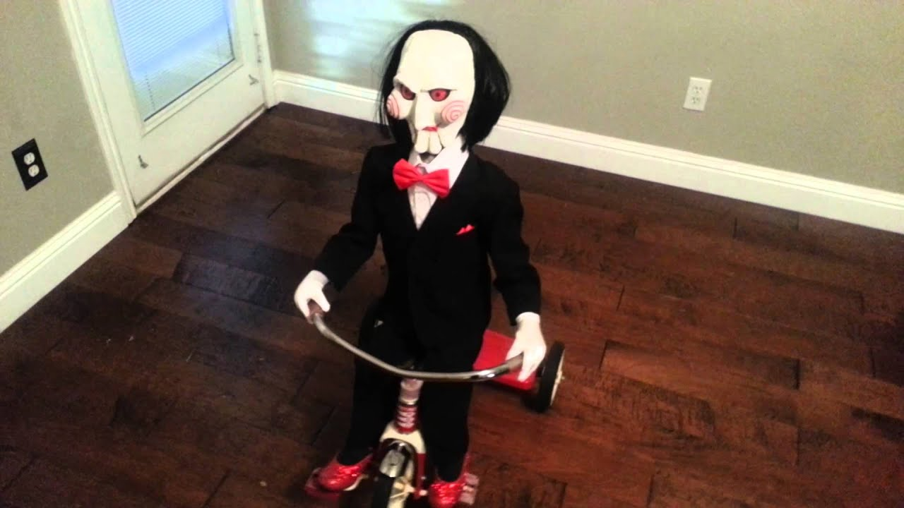 Jigsaw Billy Lifesize Billy Puppet On Tricycle From Saw Youtube
