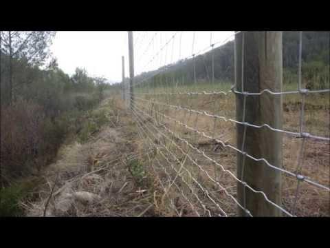 Vallado con postes de madera y malla rural youtube for Cierres de jardin