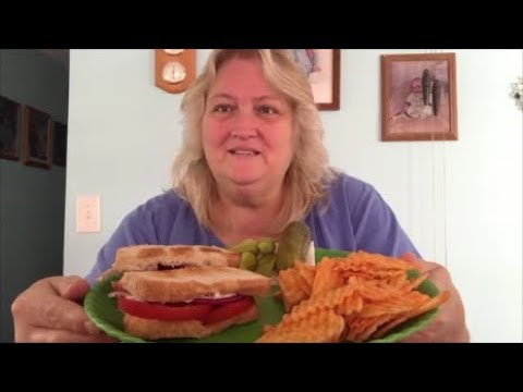 Mukbang !! Toasted Tomato Sandwich , Hickory BBQ Chips !!!