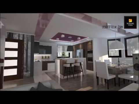 Projekt aranżacja salonu dziennego połączonego z kuchni...  Doovi
