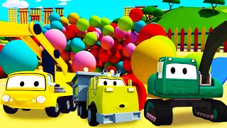 Construction Squad: the Dump Truck, the Crane and the Excavator build a Ball Pit in Car City