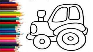 СИНИЙ ТРАКТОР - Раскраска - Развивающий мультик для детей малышей. Учим цвета