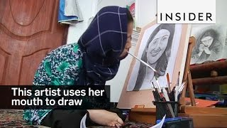 This 16-year-old uses her mouth to draw