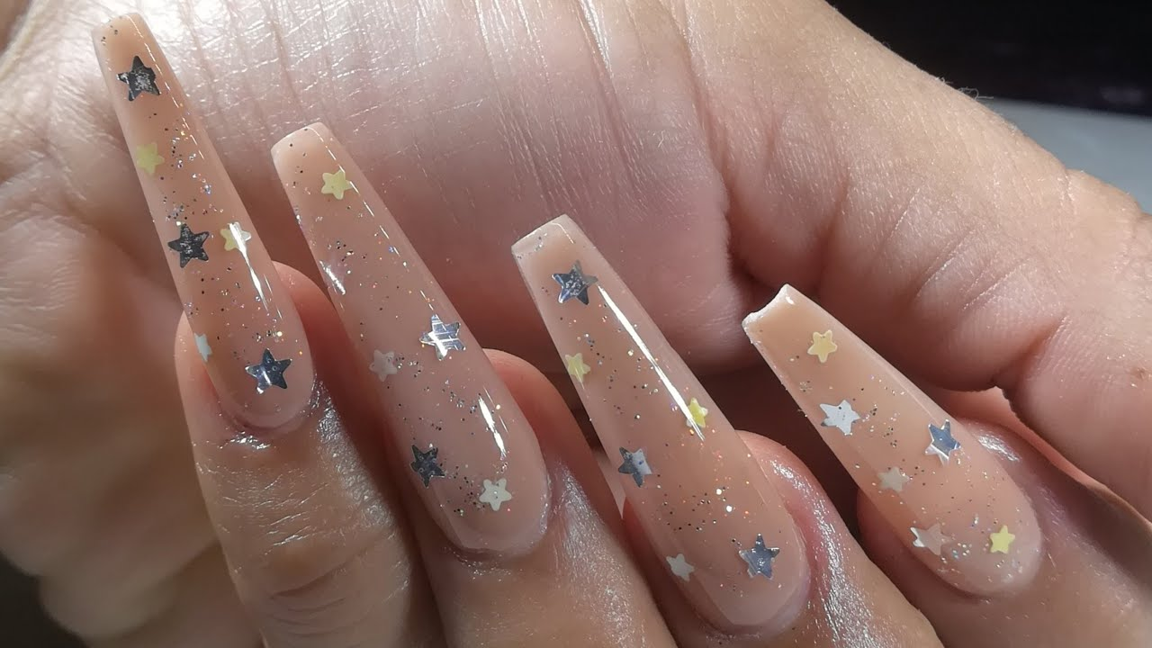 Uñas Con Estrellas De 2 Tonos Glitter Tono Nude