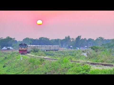 Kalni Express Train Passing through Beautiful Akhaura Rail Curve at the time of evening sunset