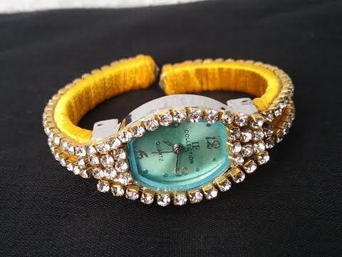 How to turn old wrist watch into designer watch l DIY l how to make silk thread wrist watch,easy diy
