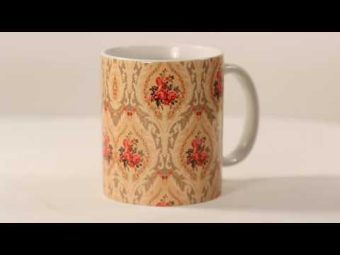 LASTWAVE Vintage Flower Design 11oz White Ceramic Coffee Mug