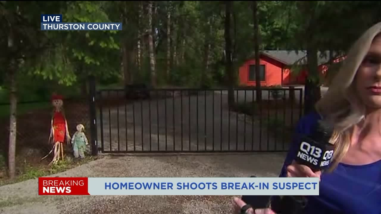 A homeowner tried to fight a burglary suspect with a stick  When that  didn't work, he used a gun