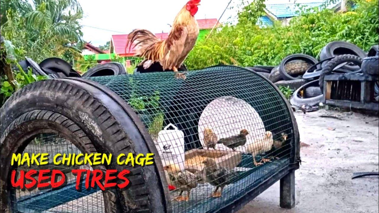 Ban bekas untuk membuat kandang ayam (used tires for making chicken coops)