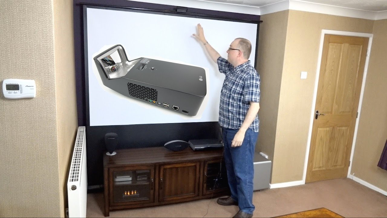 assembling my hidden home cinema with the lg pf1000u minibeam ultra short throw projector review youtube [ 1280 x 720 Pixel ]
