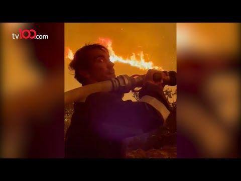 İbrahim Çelikkol termik santralin önünde yangını söndürmeye çalıştı