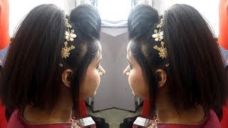 DIY - High Pony tale - Party Hairstyle with front puff - hairstyle for medium hairs