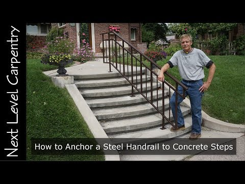 How To Anchor A Steel Handrail To Concrete Steps Youtube | Metal Handrails For Stairs Exterior | Outdoor Stair | Simplified Building | Porch | Deck Railing | Handrail Ideas