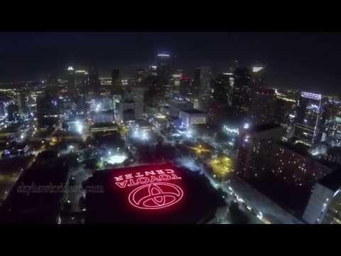 Aerial Toyota Center  Houston at Night