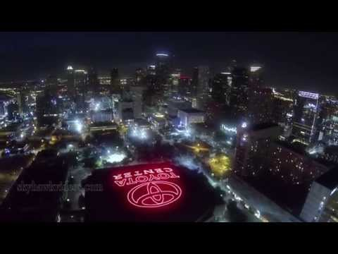 Aerial Toyota Center  Houston at Night