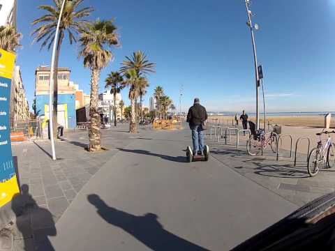 Segway Barcelona waterfront (sand sculptures)
