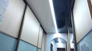 Натяжной потолок парящие линии - до и после