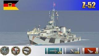 Бой на немецком эсминце X уровня Z-52 | WoWS Replays