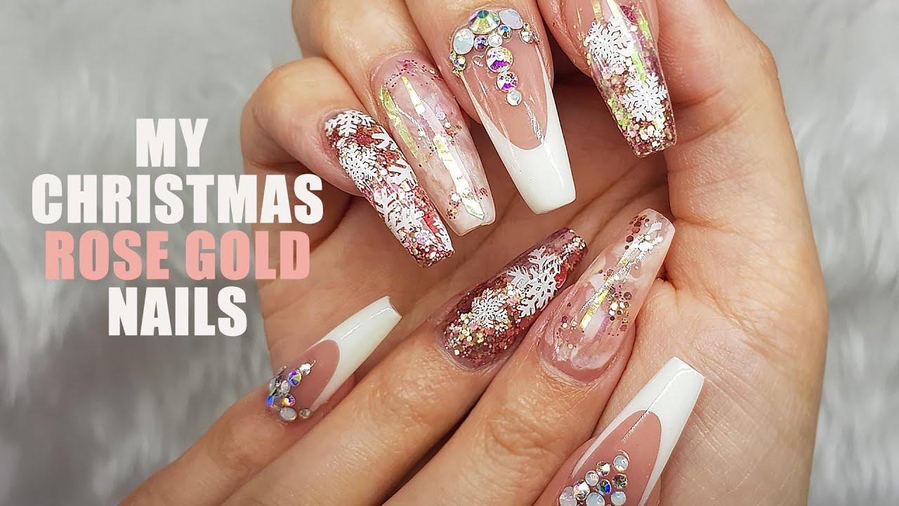 Acrylic Nails Rose Gold Christmas Nails Pre Pinched Ballerina