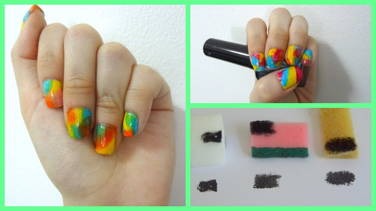 Tie dye nail art using different ways with a sponge ...