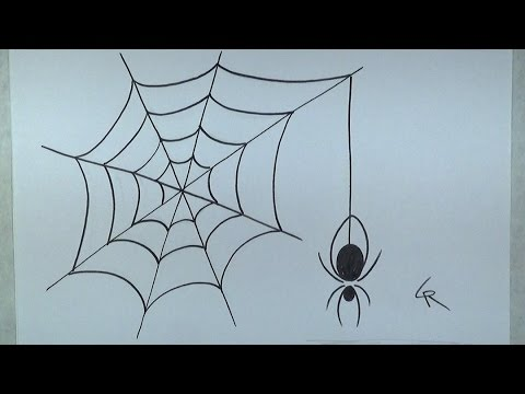 Learn how to draw an easy spider and web icanhazdraw for Easy drawing websites