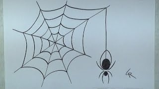 Learn How To Draw An Easy Spider and Web -- iCanHazDraw!