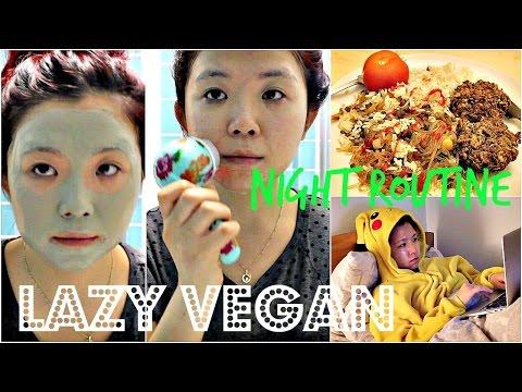 LAZY VEGAN NIGHT ROUTINE (Food, Skincare, etc...) ♥ Cheap Lazy Vegan