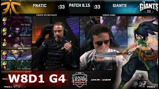 Fnatic (w/ Rekkles) vs Giants | Week 8 Day 1 S8 EU LCS Summer 2018 | FNC vs GIA W8D1