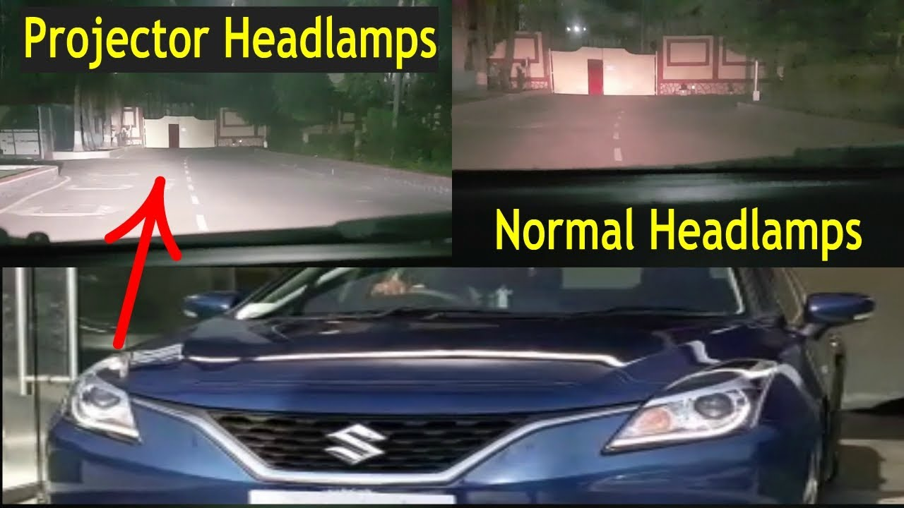 Baleno Projector Headlamps Vs Stock Halogen Tube Headlamps