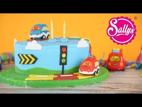 Tut Tut Babyflitzer Torte / Geburtstagstorte mit Autos / Regenbogentorte
