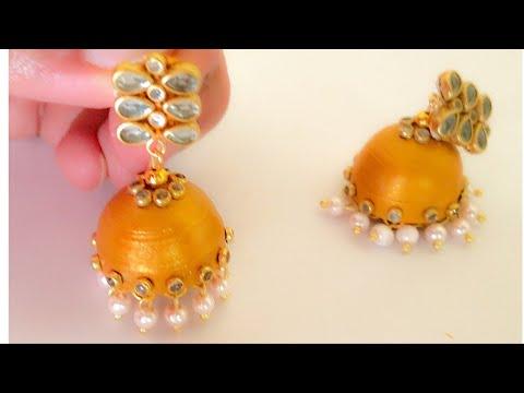 How To Make Kundan Jhumkas||Making Quilling Jhumkas||Designer Paper Jhumka Earrings