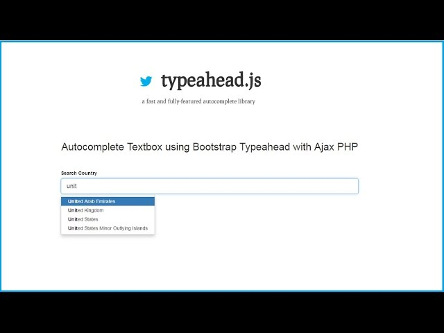Autocomplete Textbox using Typeahead with Ajax PHP Bootstrap
