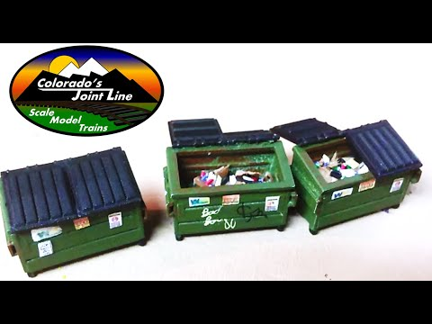 Model Railroading: Trash Dumpsters Assembly, Weathering, Detailing and review HO Scale