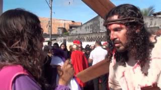 Encenação nas ruas de Belém do Pará com as cenas da via sacra da Pa...