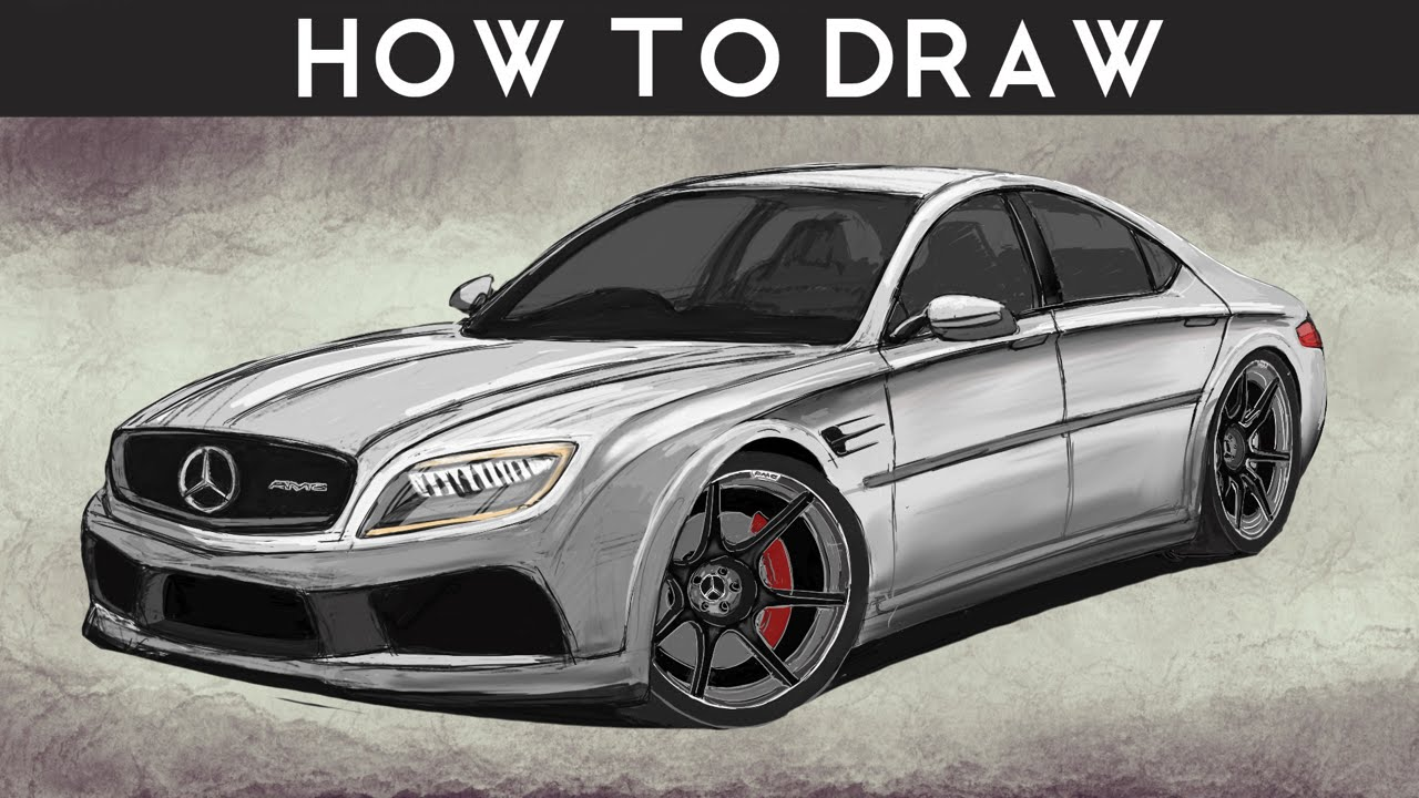 how to draw a mercedes benz e class concept - step by step