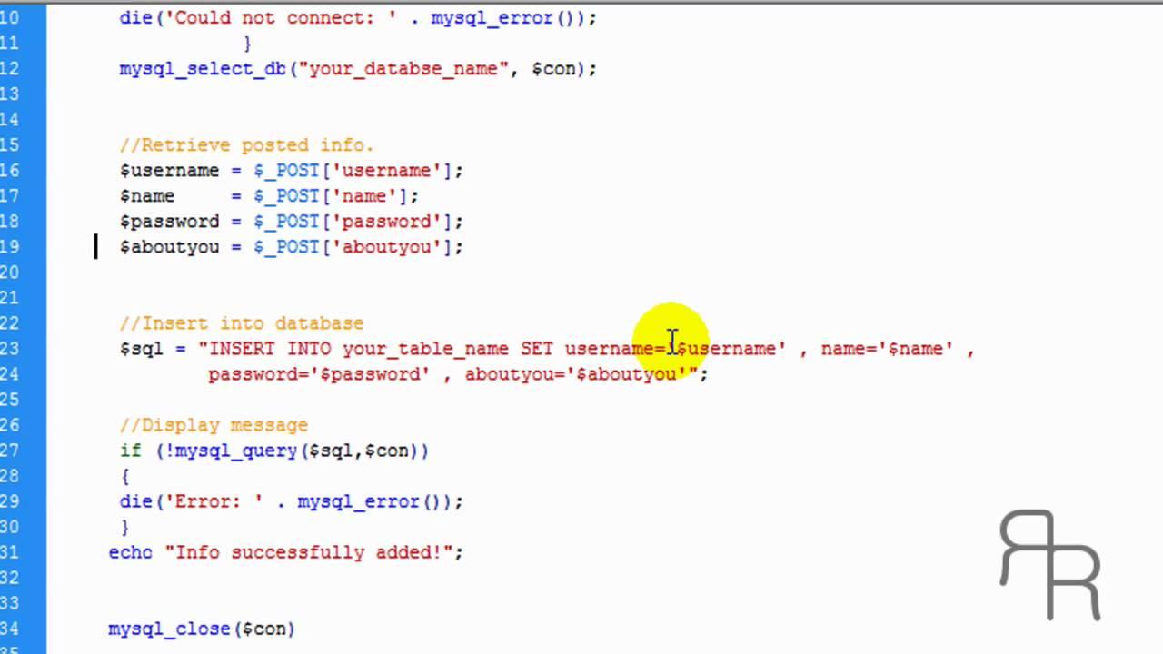 PHP Tutorial - inserting data into MYSQL database (HD) - YouTube