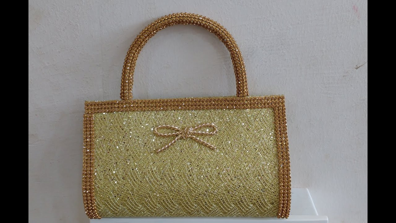 Womens Small Fancy Hand Purse With Stones Design Youtube