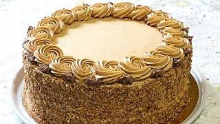 Бисквитный торт с БЕЗЕ и кремом СО СГУЩЁНКОЙ Cake with meringue
