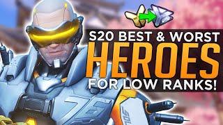 Overwatch: BEST & WORST Heroes for LOW Ranks! - Season 20