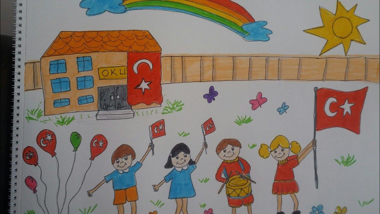 29 Ekim Cumhuriyet Bayrami Cizimi Cumhuriyet Bayrami Icin Resim