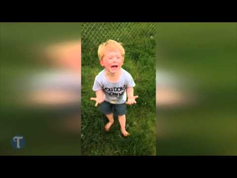 Little guy reacts after stepping in dog poop for first time