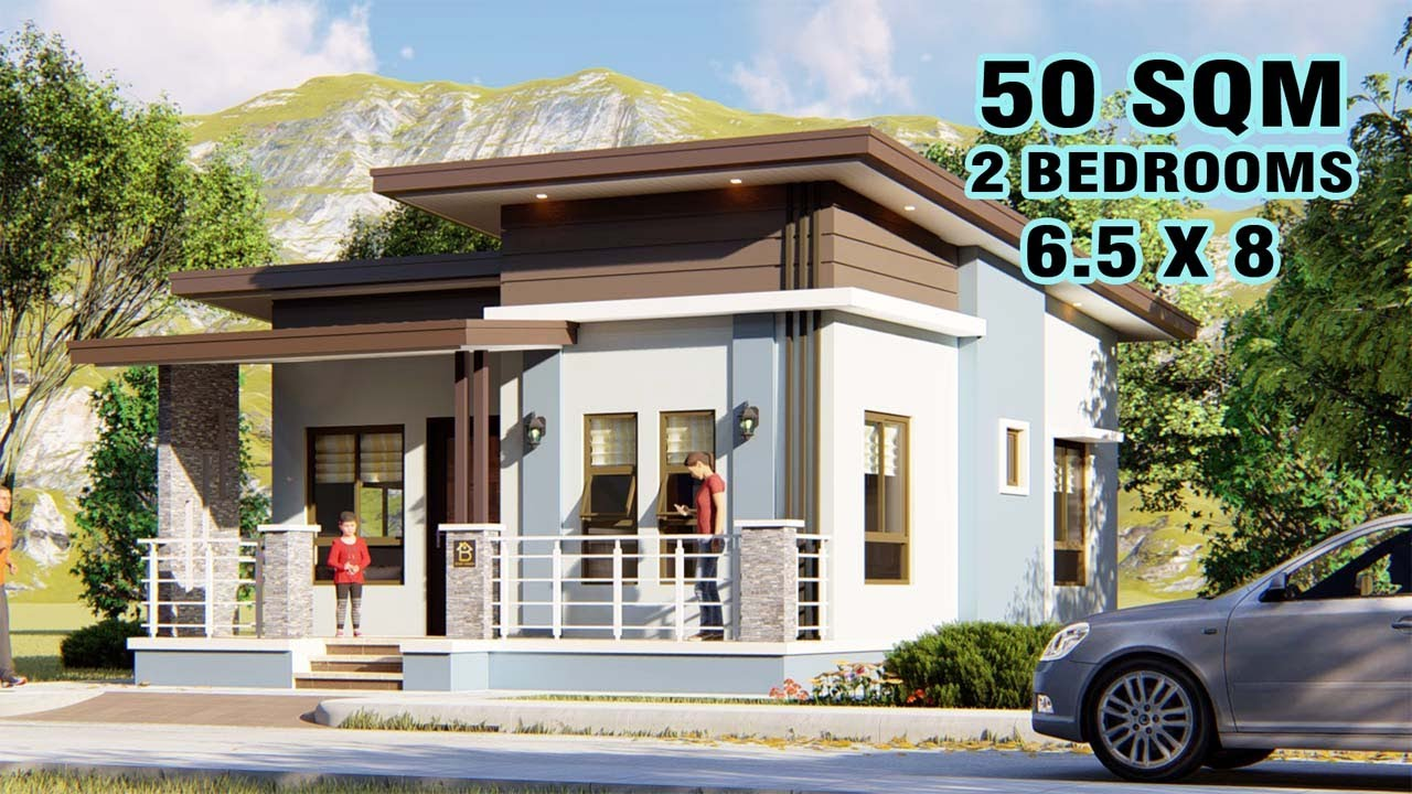 Small House Design 50sqm 2 Bedrooms Youtube