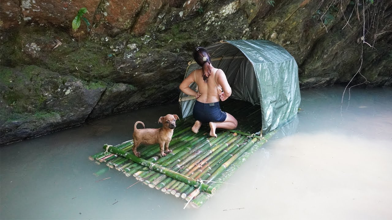 Download Build bushcraft shelter tent on water, Survival instinct, Survival alone in forest Ep.9