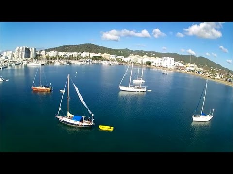 How to drone take off from boat. Ibiza beach and harbour shots