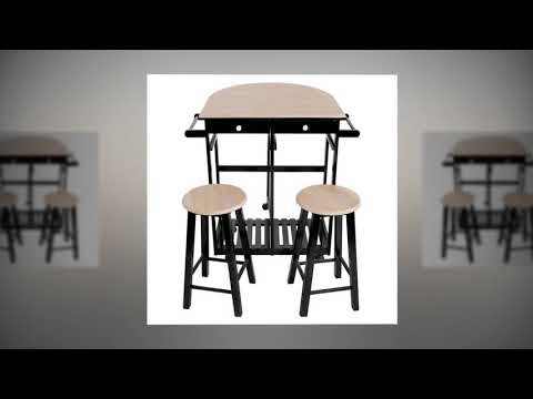 ZenChef 3-Piece Rolling Kitchen Island Trolley Cart Set Breakfast Bar Cart Drop-Leaf Folding Table
