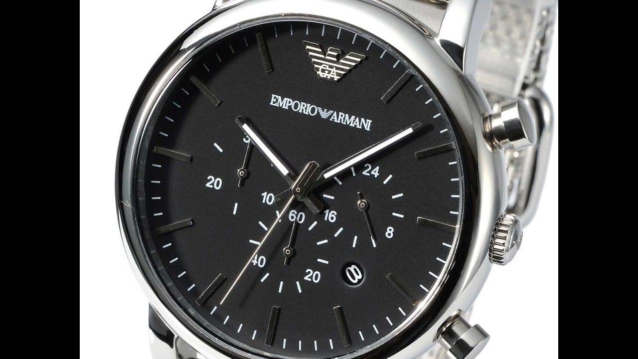 fc7c43160 EMPORIO ARMANI AR1808 MENS WATCH CLASSIC CHRONO SILVER STAINLESS MESH  REVIEW アルマーニ シルバー レビュー メンズ