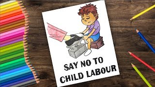 How to draw World Day against child labour 2018 || poster drawing for kids